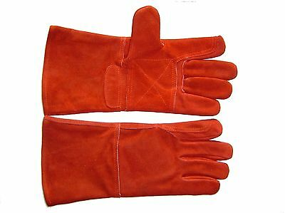 3 PAIRS KEVLAR Stictch GOLD PALMED Red Leather WELDERS WELDING GAUNTLETS GLOVES
