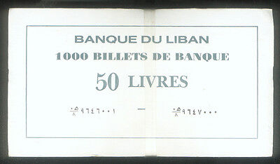 WHOLESALE 1000 LEBANON 50 LIVRES UNC NOTES P # 65 in COMPLETE UN - OPENED BRICK