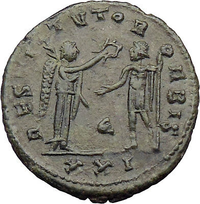 Aurelian receiving wreath from Victory Silvered Ancient Roman Coin i30090