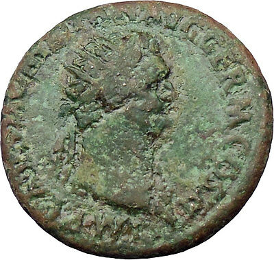 Domitian 85AD Large Ancient Roman Coin Virtus w dagger Very rare  i30121