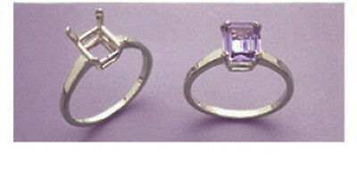 6x4-12x10mm Octagon Accented Sterling Silver Pre-Notched Ring Setting Size 5-8