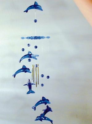 2 SNOWFLAKE DOLPHIN WIND CHIMES marine ocean dolphins 127 new chime fish hanging