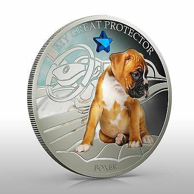 Fiji 2013 My Great Protector The Boxer Dogs & Cats 1 Oz Proof Silver Coin