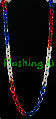 "44"" RED WHITE & BLUE CHAIN LINK BEADS Chainlink RWB Bead Necklace USA Patriotic"