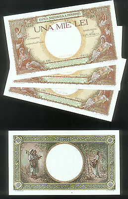 ROMANIA 1000 LEI x THREE ( 3 ) CONSECUTIVE PRE WAR NOTES of 1939 PICK # 46 UNC