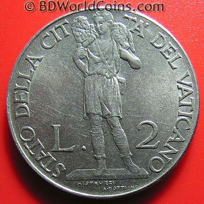 1941 VATICAN 2 LIRE VF DETAILS LAMB SHEPARD POPE PIUS XII MAGNETIC COIN 29mm