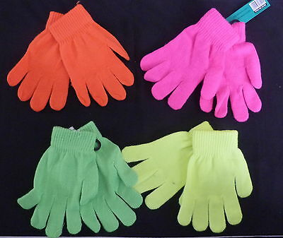 Kids One Size Magic Gloves Florecent Choice Of 4 Fluorescent Colours