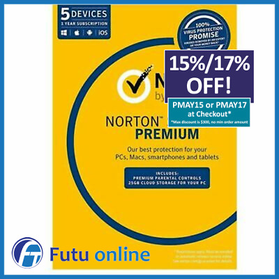 Symantec Norton Security Premium 2020 Antivirus Internet 1 Year 5 Users PC MAC