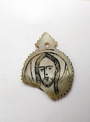 ANTIQUE 19c. PRIMITIVE ETHNIC GREEK CARVED MOTHER OF PEARL ICON PENDANT RELIC