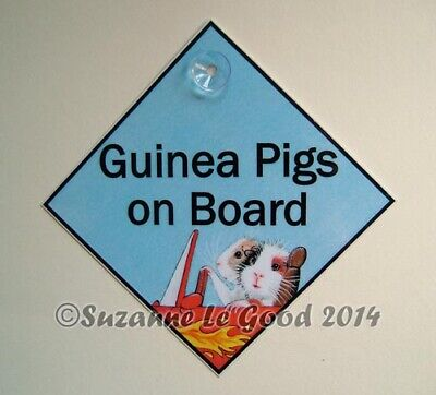 Guinea Pig art sign Guinea pigs on board car sign from painting Suzanne Le Good