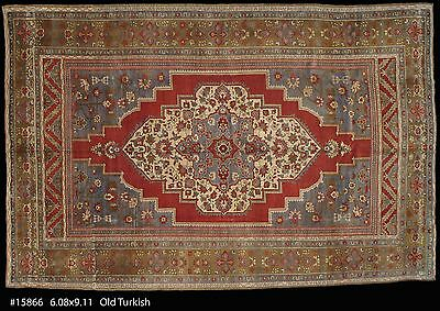 Semi Antique Turkish Ushak , hand made Oriental Rug , 6-8 x 9-11 #15866
