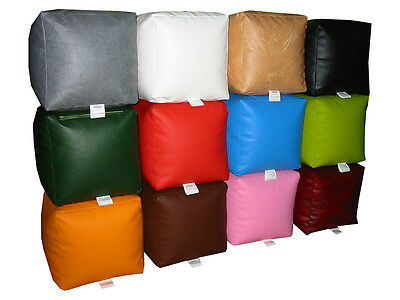 Beanbag Cube Faux Leather Seat Footrest Pouffe for adults and kids COVER ONLY
