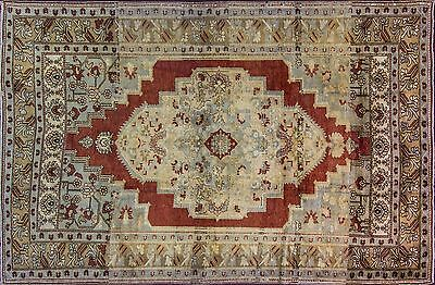 Semi Antique Turkish Ushak hand made Oriental Rug, red yellow colors, 6-5x9-11