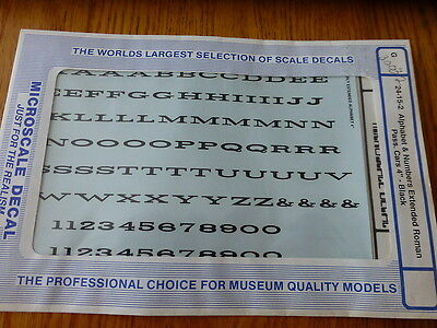 """Microscale Decal #30032 Alphabet & Numbers Extended Roman Pass Cars 4"""" BK"""
