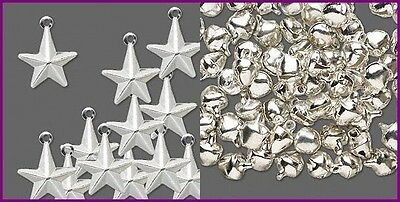 SILVER Plated CHARMS / DROPS MIX: 100 STARS 13mm PLUS 100 JINGLE BELLS 10mm
