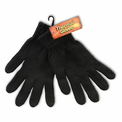 Wholesale Job Lot Black Thermal Winter Gloves in 12, 48 or 96 Brand New