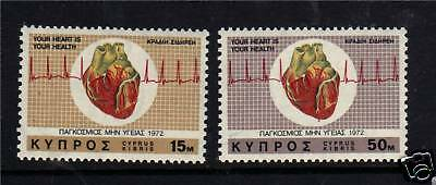 Cyprus 1972 World Heart Month SG385/6 MNH