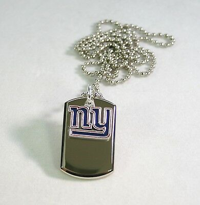 STAINLESS STEEL NEW YORK GIANTS NECKLACE DOGTAG NFL PENDANT FREE ENGRAVING