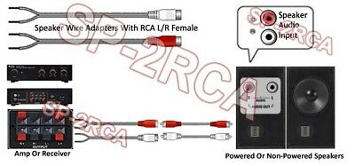 2-Channel Speaker Wire To RCA Adapter For Amp Receiver Powered Speakers