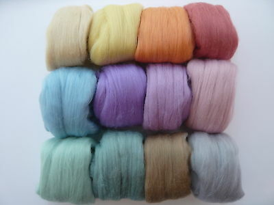Heidifeathers® Merino Wool Tops 'Serenity mix' 12 Colours 300g - Pastel, Felting