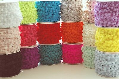 Mini Pompom 6mm  1 3 or 5 M 17 Colours Ribbon Trim Bobble Braid Christmas