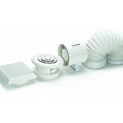 Silavent DVF100 Standard 100mm In-Line Axial Bathroom Extractor Fan Kit