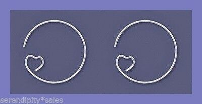 24 SILVER Plated HEART Ear Wire Earrings HOOPS 23mm ~Sturdy Wires ~ Wine Charms