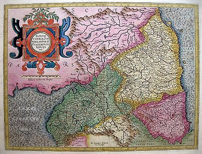 1595/1613 NORTH ENGLAND Wales * STUNNING original MERCATOR MAP w/Gold Highlights