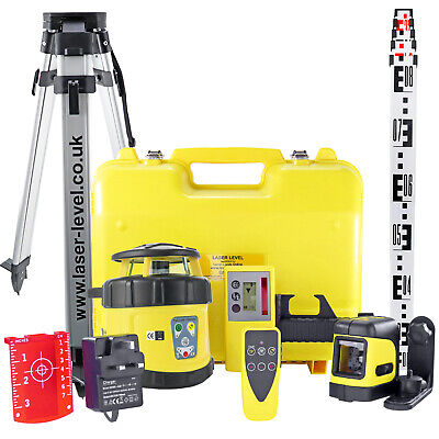 FRE-205 Premium ROTARY LASER LEVEL kit with TRIPOD & STAFF, incl. dual grading