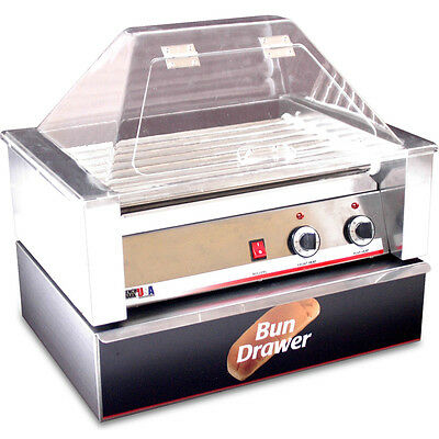 Commercial Hot Dog Roller Grill Cooker w/ Bun Roll Box & Sneeze Guard Cover Top