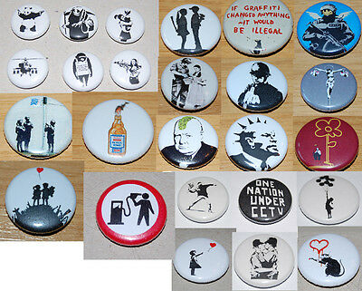 Banksy 25Mm Button Badge - 25 Various Designs One Nation Under Cctv, Anarchist