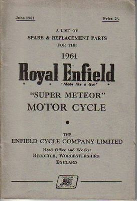 Royal Enfield 1961 Super Meteor original List of Spare Parts