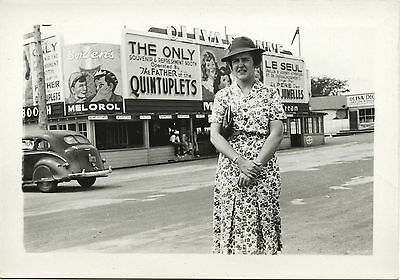 Woman In Front Of Callander Ontario Dionne Quintuplets Store Vintage Photo
