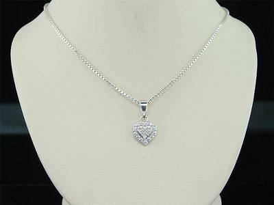 Ladies .925 Sterling Silver Love Heart Diamond Pendant Charm For Necklace .03 Ct