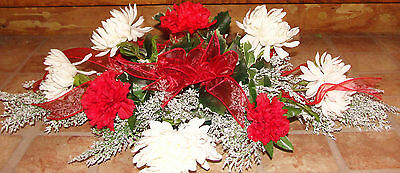 Christmas Centerpiece Holly Wintery Snowy Glitter Greens Red Ribbon Carnations