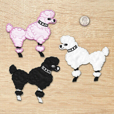 Poodle Patches - Large 50's Poodle Iron on Appliques - Blk or Pk or White (429)