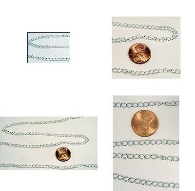 16 meter spool (52.49') 4x5mm SILVER PLATED CURB Chain~ OVER 50 FEET !