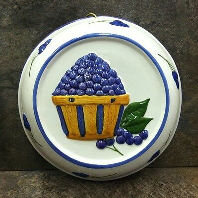 Vintage Art Pottery Ceramic Wall Hanging Mold Purple Fruit Hand Crafted Painted