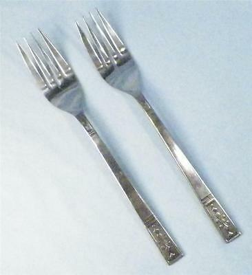 2 Vintage Stainless Dinner Forks Interpur Japan INR11 Textured Black Accents