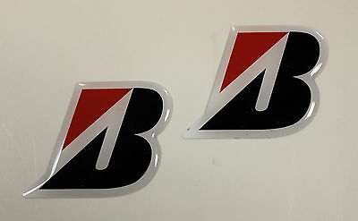 BRIDGESTONE 'B' stickers - decals 2 x  HIGH Gloss Gel Finish 48mm - Motorcycling