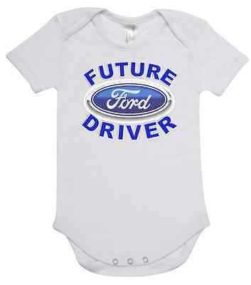 BABY ONE PIECE, ROMPER. printed with FUTURE FORD DRIVER brand new