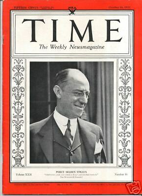 MAGAZINE TIME  PERCY STRAUS  OCTOBER 16   1933