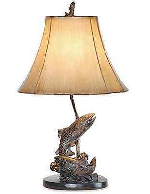 Bass fish table lamp fishing lure bronze finish light rustic cabin lake trout fish table lamp fishing bronze finish rustic cabin lodge decor 25h mozeypictures Images