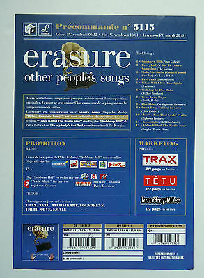 ERASURE Other People's Songs French Promo Advert / Presskit Plan Média