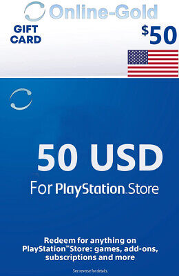 $50 Dollar Playstation Card - 50 USD PSN Network USA Store Key PS 3/4/Vita - US
