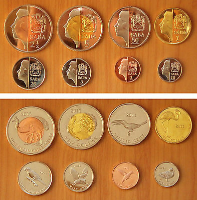 NETHERLANDS Saba Coins Set of 8 Pieces 2011, Fantasy Coinage
