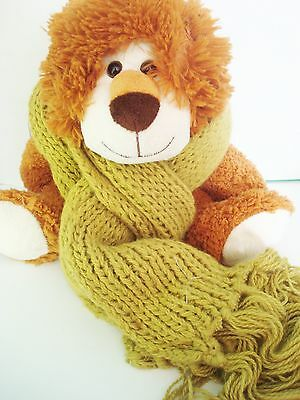 Pea Green Handknit Scarf