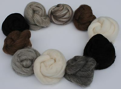 Heidifeathers® 'Animal Mix' 10 Varieties of Natural Wool 100g, Felting, Spinning