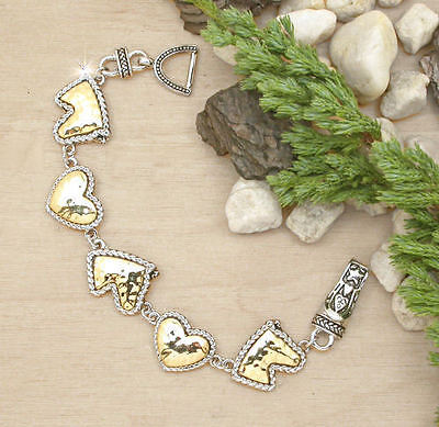Horse & Western Jewellery Jewelry Ladies Horses & Hearts  Bracelet Two Tone