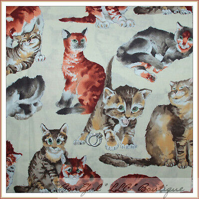 BonEful Fabric FQ Cotton Quilt VTG Cream Brown CAT KITTY Tan White Gray Catnip